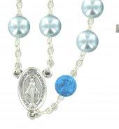 Immagine di 'Rosario Pater in imitazione di perla di vetro azzurro'