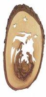Natività con cielo stellato in corteccia d'ulivo - altezza 17 cm