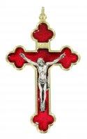 Croce in metallo dorato con smalto rosso - 6 cm