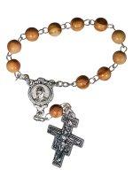 Decina in legno di ulivo con croce di San Damiano e immagine di Papa Francesco