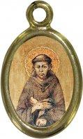 Medaglia San Francesco in metallo dorato e resina - 1,5 cm