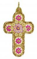 Croce in metallo dorato con decori - 3,3 cm