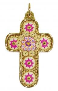 Copertina di 'Croce in metallo dorato con decori - 3,3 cm'