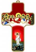 Croce rossa con Cristo Risorto e Ultima Cena con bordo dorato (cm 9x13)