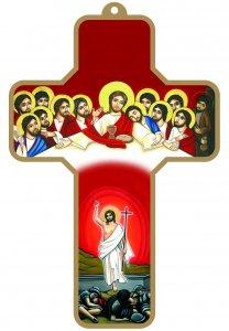 """Copertina di 'Croce rossa con bordo dorato """"Ultima Cena e Cristo Risorto"""" - altezza 13 cm'"""