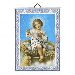 """Copertina di 'Icona con cornice azzurra """"Gesù Bambino"""" - dimensioni 14x10 cm'"""