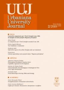 Copertina di 'Urbaniana University Journal. Euntes Docete. LXXI/2 2018: Focus - L'autorità competente per i testi liturgici (can. 838). In margine al motu proprio Magnum principium'