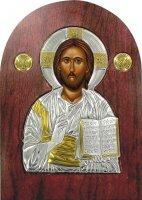 Icona Cristo con libro aperto Greca a forma di arco in argento con dettagli in oro e cristalli - 14 x 10 cm