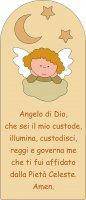Pala Angelo di Dio con angelo in legno colorato beige cm 28x12
