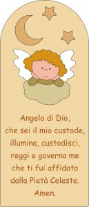 Copertina di 'Pala Angelo di Dio con angelo in legno colorato beige cm 28x12'