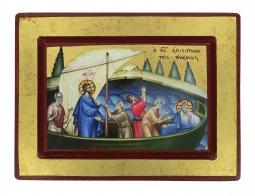 Copertina di 'Icona Gesù e Discepoli - tempesta sedata, produzione greca su legno (20 x 15 cm)'