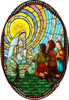 Immagine di 'Quadro Madonna di Fatima in legno ad arco - 10 x 27 cm'