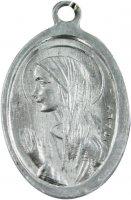 Immagine di 'Medaglia Madonna Lourdes in alluminio con smalto azzurro - 1,8 cm'
