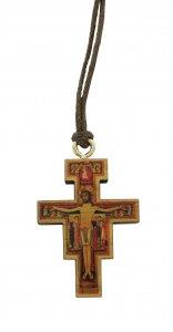 Copertina di 'Croce San Damiano stampa su legno ulivo con laccio - 4 x 3 cm'