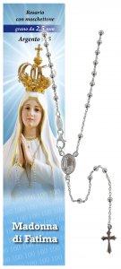 Copertina di 'Rosario Fatima in argento 925 con grani da Ø 2,5 mm e preghiera in italiano'
