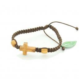 Copertina di 'Bracciale regolabile con croce in legno d'ulivo'