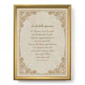 """Quadro con preghiera """"Le ali della speranza"""" su cornice dorata - dimensioni 44x34 cm - Johann Amos Comenius"""