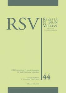 Copertina di 'RSV. Rivista di studi vittoriani'