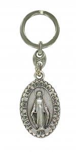 Copertina di 'Portachiavi Madonna Miracolosa ovale in metallo - 4 cm'