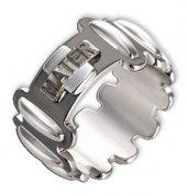 Anello rosario argento colore brunito e decine argento lucido mm 19