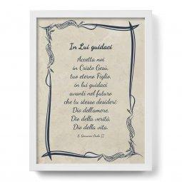 """Copertina di 'Quadro con preghiera """"In Lui guidaci"""" su cornice minimal - dimensioni 44x34 cm'"""