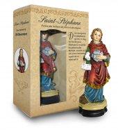 Statua di Santo Stefano da 12 cm in confezione regalo con segnalibro in versione FRANCESE