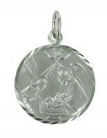 """Medaglia tonda in argento """"Il battesimo"""" - cm 2"""
