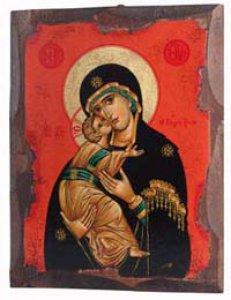 """Copertina di 'Icona in legno """"Maria Odigitria dal manto nero con sfondo rosso"""" - dimensioni 21x16 cm'"""