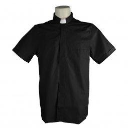 Copertina di 'Camicia clergyman nera mezza manica 100% cotone - collo 39'
