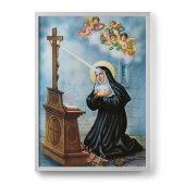 """Quadro """"Santa Rita da Cascia"""" con cornice minimal - dimensioni 50x70 cm"""