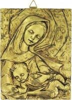 Bassorilievo rettangolare Madonna con Bambino  in resina dorata cm 27x34 di  su LibreriadelSanto.it