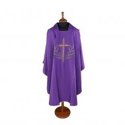 Copertina di 'Casula viola con croce stilizzata e ramoscelli d'ulivo ricamati'