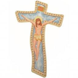 Copertina di 'Crocifisso in legno sfondo azzurro -  dimensioni 26x17 cm'