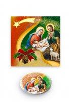 """Magnete ovale """"Buon Natale"""" con cartoncino pieghevole - dimensioni 7,5x5 cm"""