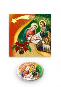 """Copertina di 'Magnete ovale """"Buon Natale"""" con cartoncino pieghevole - dimensioni 7,5x5 cm'"""