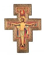 Crocifisso San Damiano da parete stampa su legno bordo oro - 20 x 27 cm