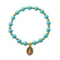 Copertina di 'Bracciale rosario elasticizzato color azzurro e oro - grani tondi 7 mm'