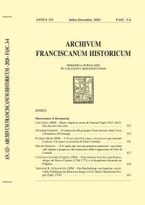 Archivum Franciscanum Historicum n. 2020/3-4