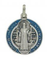 Immagine di 'Medaglia San Benedetto tonda in metallo argentato con smalto - 2 cm'