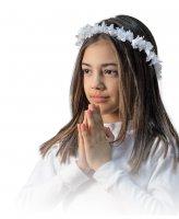 Coroncina in stoffa con fiori bianchi per Prima Comunione