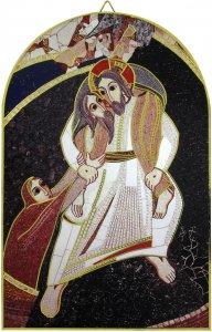 Copertina di 'Quadro arco Buon Pastore di Padre Rupnik cm 10x15 con bolla Giubileo Misericordia'