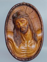 Bassorilievo in legno volto di Cristo