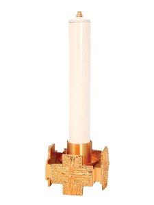 """Copertina di 'Candeliere per finta candela in ottone dorato lucido """"quattro croci"""" - diametro 4 cm'"""