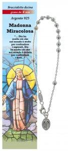 Copertina di 'Bracciale rosario Madonna Miracolosa con 11 grani in argento da 4 mm'
