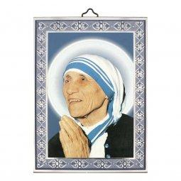 """Copertina di 'Icona in legno con cornice azzurra """"Madre Teresa"""" - dimensioni 14x10 cm'"""