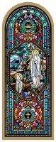 Tavola Madonna di Lourdes stampa tipo vetrata su legno - 10 x 27 cm