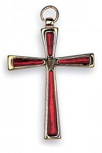Copertina di 'Croce in metallo dorato con smalto rosso - 7 cm'