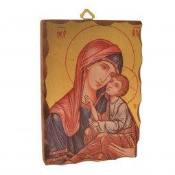 """Copertina di 'Icona in legno massello """"Madonna della tenerezza"""" - dimensioni 14x9,5 cm'"""