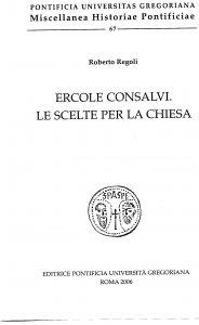 Copertina di 'Ercole consalvi. Le scelte per la chiesa'
