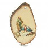 """Corteccia di legno con """"Natività"""" - altezza 10 cm"""